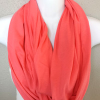 Salmon Pink Knit Infinity Scarf Womens Pink Fashion Scarves Girls Knit Infinity Scarves Bright Pink Scarves Summer Scarf Soft Pink Scarf