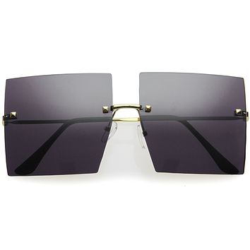Luxe Rimless Studded Accent Oversize Square Sunglasses D124