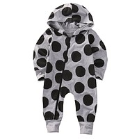 born Infant Baby Boys Girls Polka Dot Romper Long Sleeve Hooded Jumpsuit Clothes Outfit CA