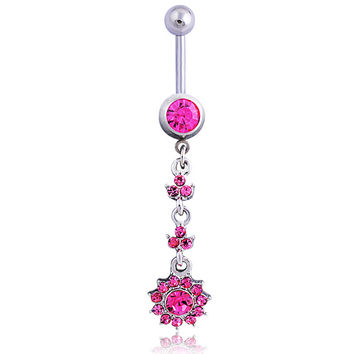 New Charming Dangle Crystal Navel Belly Ring Bling Barbell Button Ring Piercing Body Jewelry = 4651258948