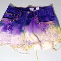Vintage Dyed Destroyed purple and green Calvin Klein High Waist gold STUDDED button fly Bleached Denim shorts cut off short shorts M