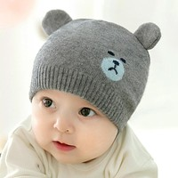 DreamShining Cute Bear Baby Hat Beanies Toddler Cap Knitted Warm Kids Winter Hats born Photography Pprops Accessories