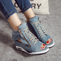 High Heels Gladiator Sandals Open Toe Shoes Sexy Lady Pumps Woman Wedges Shoes female Platform Lady Shoes Jeans Designer Wedges
