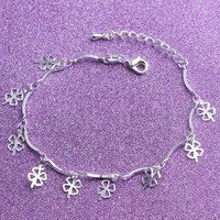 New Arrival Shiny Hot Sale Great Deal Gift Awesome 925 Jewelry Stylish Korean Silver Ladies Leaf Bracelet [8171790919]