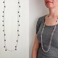 Double chain necklace black glass pendants long necklace minimalist