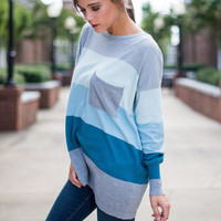 Color Block Pocket Sweater, Gray-Light Blue