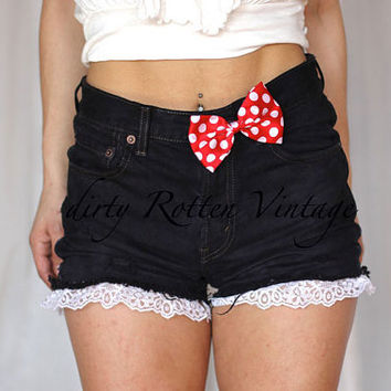 """dirty Rotten Vintage + disney Bound """"Mrs. Mouse"""" Minnie Mouse Inspired Bow Cutoff Denim Shorts"""