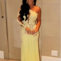 2015 Oscar Yellow Mermaid Lace Long Sleeve Prom Dresses Evening Gowns