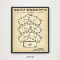 Monopoly Currency Patent Print, Digital Download, Vintage Board Game, Monopoly Poster Printable, Monopoly Enthusiasts Gift, Blueprint Art