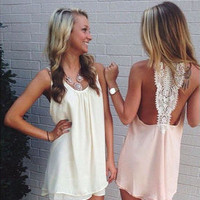 Summer Fashion Chiffon Women's Fashion Stylish Sleeveless Mini Round-neck One Piece Dress = 4522121348