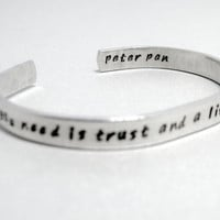 Personalized Peter Pan Bracelet - All You Need - Hand Stamped Aluminum Cuff - customizable