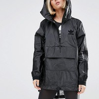 adidas Originals High Shine Hooded Jacket In Black at asos.com