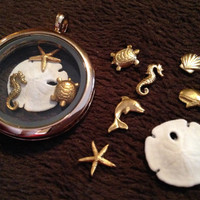 Sea Collection:  Seven Floating Charms for Locket Necklace or Bracelet