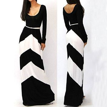 Aokdis Sexy Long Sleeve Long Maxi Evening Party Dress (S, White)