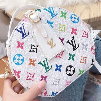 LV Fashion New Multicolor Monogram Print Leather Shoulder Bag Crossbody Bag Handbag White