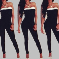 Fashion Women Jumpsuits 2015 Sexy Bodycon Strapless Black Jumpsuit For Women Plus Size = 1958313156