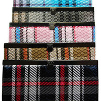 Plaid Print Flat Frame Wallet