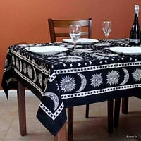 Cotton Celestial Tablecloth Rectangle Sun Moon Star Bed Sheet Black White