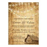 Country wedding invitation with Barn