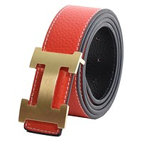 Dinamit Women's H Reversible Leather Belt With Removable Buckle