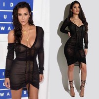 Fashion Long Sleeve Bodycon  Dress Sexy Party