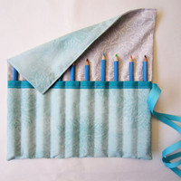 Pencil Roll/ Crochet Hook Case/ Cosmetic Brush Roll/  Arts and Crafts storage/ abstract aqua flower and butterfly pattern