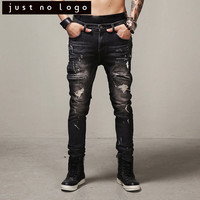 Fashion Black Man Slim Moto Biker Denim Jeans Skinny Pants Distressed Ripped Trourser Scratch with holes For Hiphop Men