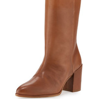 Justso Leather Chunky-Heel Bootie, Camel