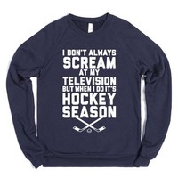 Hockey Season-Unisex Navy Sweatshirt