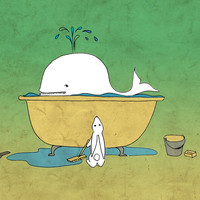 Whale nursery room art Poster of whale and by ElephantDancing