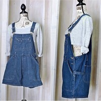 Womens Overalls Shorts / size S / 90s grunge / Route 66 denim bib shortalls overalls / dark wash  jean overall shorts