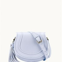 Periwinkle Jenni Saddle Bag | Pebble Grain Leather | GiGi New York