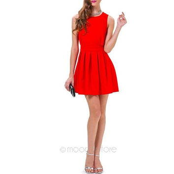 New Sexy Women Summer Autumn Casual Sleeveless Party Evening Cocktail Short Mini Dress = 1946427716