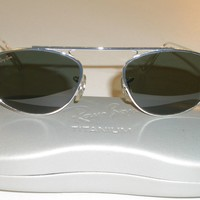 VINTAGE B&L RAY BAN SLEEK SILVER G15 SMALL MODIFIED AVIATOR SUNGLASSES MINT