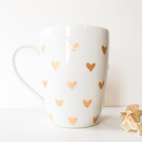 Gold hearts mug. Hand painted coffee cup. Cute mug. Bridesmaids gift.