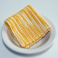 Hand Knit Cotton Dishcloth in shades of yellow and white,  Large Knit Cotton Washcloth, mix and match to make custom set, Housewarming Gift