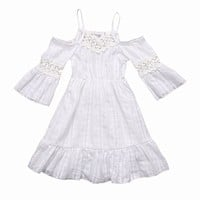 2017 Toddler Kids Baby Girl Summer Dress Off Shoulder White Lace Dress Princess Girls Long Dress Children Clothes 2-7Y
