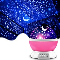 Star Projector, MOKOQI Night Light Lamp Fun Gifts for 1-4-6-14 Year Old Girls and Boys Rotating Star Sky Moon Light Projector for Kids Bedroom Decor (Pink) Pink