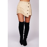 On The Border Buttoned Suede Skort (Sand)