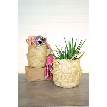 Set Of 2 Collapsible Natural Seagrass Baskets
