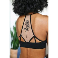 Floral Bloom Tattoo Bralette - Black