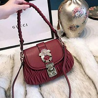 Miu Miu Trending Women Stylish Leather Handbag Tote Shoulder Bag Crossbody Satchel Red