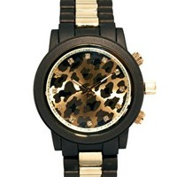 River Island Leopard Stripe Emily Chronograph Watch at asos.com