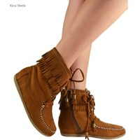 Womens Fringe Moccasin Ankle Flat Boots Faux Suede Zipper Booties New Chestnut