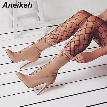 Aneikeh New Boots Women 2021 Autumn Fashion Ankle Pointed Toe Shoes Stretch Cross-Tied Lace-Up Stiletto High Heel Botas Mujer 42