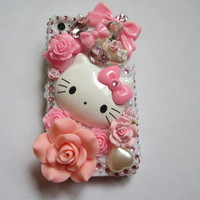New Style Hello Kitty Cat Bling DIY Deco Kit For Cell Phone iPhone 4 4S 5 Case