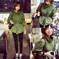 Korea Women  Casual Jacket Coat Autumn Windbreaker  Free Size (Color: Army green) = 1667721796