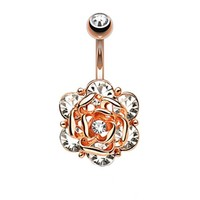 BodyJ4You Jeweled Flower Rose Goldtone Belly Button Ring