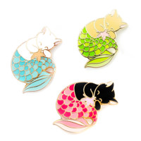 Purrmaid Enamel Pin (Green, Blue, Red)