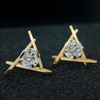 Triangle Crystal Pattern Studs Earrings + Nice Free Necklace Gift
